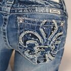 Miss Me Freelove Fleur de Lis Boot Cut Midrise Stretch Jeans MP7302B NEW!
