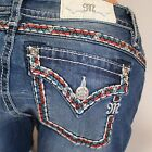 Miss Me Red Blue Trim Slim Boot Cut Midrise Stretch Jeans MP7698SB NEW!