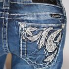 Miss Me Corner Leaf Floral Pocket Boot Cut Lowrise Stretch Jeans JP7308B NEW!