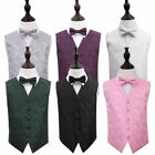 DQT Highest Quality Paisley Floral Boys' Wedding Waistcoat Vest with Bow Tie Set