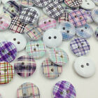 New 10/50/100Pcs Grid Wood Buttons Sewing Kid's Craft Mix Lots Scrapbooking W284