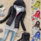 New Winter Womens Lightweight Parka Short Slim Collar Hooded Coat Quilted Jacket