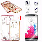 Premium Real 9H Tempered Glass + Back Diamond TPU Clear Case Cover For LG Phones