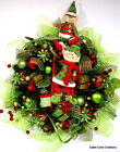 Christmas Elves Elf door Wreath Holiday decorated red lime BLING gift boxes L@@K