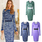 Women Long Sleeve Evening Party Cocktail Lace Bodycon Short Mini Pencil Dress
