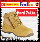 New Hard Yakka Utility Mens Work Boots Lace Up Safety Steel Toe Zip Sided Y60120