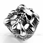 Fashion Punk Gothic Men Heavy Biker Dragons Claw Skull 316L Surgical Steel Ring
