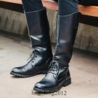 New Mens Black Leather Mid Calf Long Riding Boots Military Pull On Combat Shoes