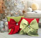 Christmas Diamanté Filled Cushion Red with Green Bow 16x16 inches