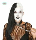 Half Long Black Hair Half Bald Gothic Punk Skeleton Halloween Ladies Wig