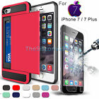 Hybrid Card Pocket Bumper Case+Tempered Glass Film For iPhone 7 / 7 Plus New