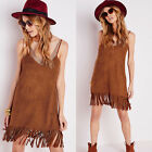 Fashion Women's Faux Suede Loose Party Ladies Tassels Deep V Neck Casual Dress