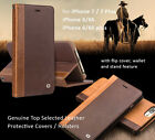 Genuine Cowhide Leather Covers Cases for iPhone 7 / 7 Plus  plus w wallet stand