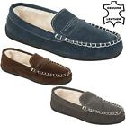 MENS REAL LEATHER MOCCASINS SLIPPERS LOAFERS FAUX SHEEPSKIN FUR WINTER SHOES SIZ