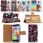 Printed PU Leather Stand Case Card Pocket Wallet Cover Fr Samsung Galaxy S5 Mini