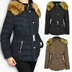 Womens Ladies Plus Size Fur Hooded Quilted Padded Winter Jacket Parka Coat Size