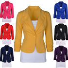 Fashion Womens Candy Color Blazer Jacket Suit Casual Busines Long Sleeve Coat