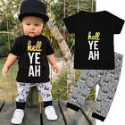 2PCS Infant Baby Kids Boys Short Sleeve T-shirt Tops + Pants Outfits Clothes Set