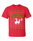 Merry Christmas Reindeer Humping Ugly Sweater  Men's Tee Shirt  2 COLOR PRINT