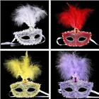 Fashion Mask with Feather Crystal Drills for Masquerade Costume Dress Up Ball LJ