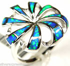 Unique Blue Fire Opal Inlay Solid 925 Sterling Silver Ring size 6.5