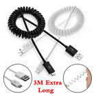 3M Long Over 2A Fast Charge Coiled Micro USB Sync Date Cable For Samsung Andriod