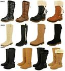 WOMENS LADIES FUR LINED GIRLS CALF QUILTED KNEE HIGH FLAT WINTER SNOW BOOTS SIZE