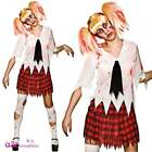 Womens Zombie Student Freaky Schoolgirl Halloween Horror Fancy Dress Costume