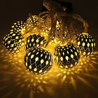 10 Moroccan Metal Ball Solar Powered String Lanterns LED Indoor or Outdoor Fairy
