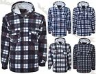 Hooded Lumberjack Padded Check Fur Lined Sherpa Winter Warm Casual Shirt M-3XL