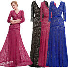 V-Neck Formal Long Lace Ball Gown Evening Party Wedding Bridesmaid Maxi Dress