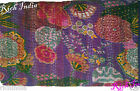 KANTHA QUILT FLORAL COTTON BEDSPREAD BLANKET THROW COVERLET Flowers Purple Color