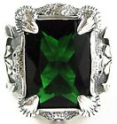 HUGE GREEN EMERALD DRAGON CLAW STERLING SILVER RING NEW BIKER MENS JEWELRY