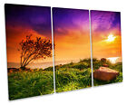 Lake Balaton Hungary Sunset CANVAS WALL ART TREBLE Box Frame Print