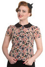 NEW HELL BUNNY BEIGE HALLOWEEN 50S RETRO ROCKABILLY GOTHIC SHIRT TOP BLOUSE 8-22