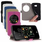 Leather Window-View Stand Holster Flip Cover Back Case Skin For LG K5 X220