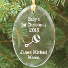 Personalized Baby's 1st Christmas Ornament Engraved Baby Rattle Glass Ornament