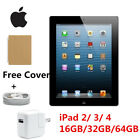 """Apple Ipad 2/3/4 9.7"""" 16gb Wifi /cellular/at&t Black Tablet Grade A+ Gift"""