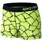 "Nike Women's Pro 3"" Giraffe Short Running Black/Yellow"