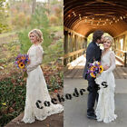 V Neck Bohemian Lace Beach Wedding Dresses Long Sleeve Country Bridal Gown 2017