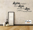 LEARN LOVE LIVE Wall Sticker Art Decal Vinyl quote lounge bedroom swirl hope