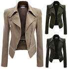 Fashion Womens Faux Leather Motorcycle Coat Long Sleeve Warm Winter Jackets Tops