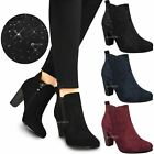 Womens Ladies Low Mid Block Heel Chelsea Ankle Boots Stretchy Slip On Shoes Size