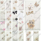 3D Bling Handmade Diamonds White PU Leather Case Skin Cover For HTC