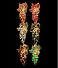 PINK BLACK GREEN ORANGE RED GRAY CRYSTAL ACRYLIC GOLD BRIDAL HAIR CLIP CLAW NEW
