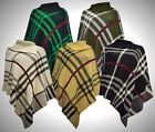 New Women Ladies Poncho Plain Checked Knitted Cardigan Top Winter Style AllSizes