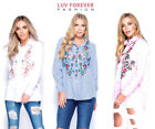 Parisian Women's White Floral Embroidered Full Sleeve Prom Party Summer Shirt