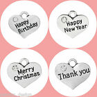 Pack of 4 Occasion Celebration charms Antique Silver 16mm x 14mm
