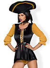 OBSESSIVE Pirate Luxury Long Sleeved Satin Dress, Hat and Matching Thong Set