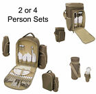 2 or 4 Person Picnic Set Rucksack Cool Cooler Bag Drink Bottle Camping Back Pack